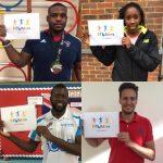 TEAM GB professional athletes Theo Spalding, Serita Solomon and James Kirton, and London Lions Basketball Captain, Joseph Ikhinmwin promoting Fit 4 Future Foundation
