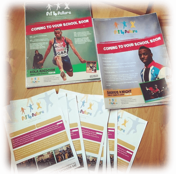 Fit 4 Future Foundation Professional Athlete Fitness Event Sponsorship forms and promotional posters.