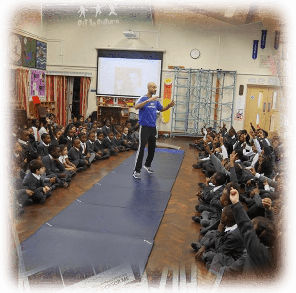 Professional Gymnast and Team GB representative, Steve Frew giving a talk in a special assembly.