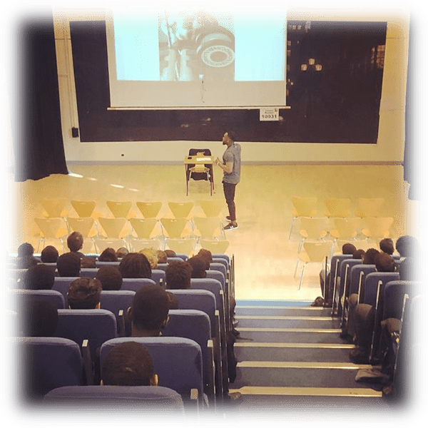 it 4 Future Foundation Motivational Speaker, Segun Adeniji, giving a motivational talk to Year 8 and 9 boys at Lambeth Academy